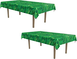 Beistle Palm Leaf Tablecover 2 Piece, Green