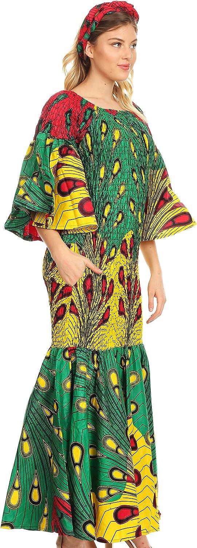 Sakkas Zarah Women's African Ankara Ranking TOP17 Shoulder Mermai New products world's highest quality popular Body-con Off