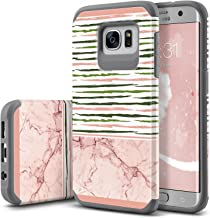 UrbanDrama Galaxy S7 Edge Case, Samsung S7 Edge Case, Slim Marble Pattern High Impact Resistant Shockproof Anti-Scratch Durable Protective Case for Samsung Galaxy S7 Edge, Rose Gold, Stripe