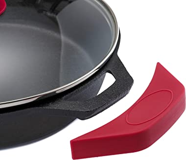 """Traditional Cast Iron Skillet with Tempered Glass Lid & Silicone Handle Covers by Braxxle – 12"""", Pre-Seasoned – for Stove"""