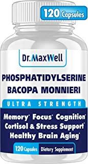 PhosphatidylSerine & Bacopa Monnieri, Better Than Each Alone. Best Phosphatidylserine 300mg: no fillers, Soy Free, 2in1. C...