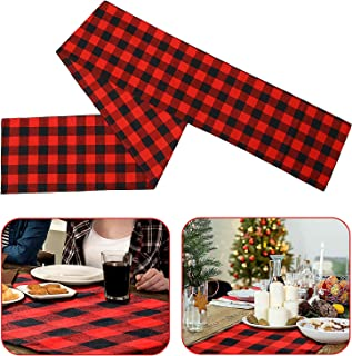 15 x 72 Inch Christmas Plaid Table Runner Cotton Checkered Table Runner for Family Gathering Dinner Party Christmas Tree Decoration, Red and Black