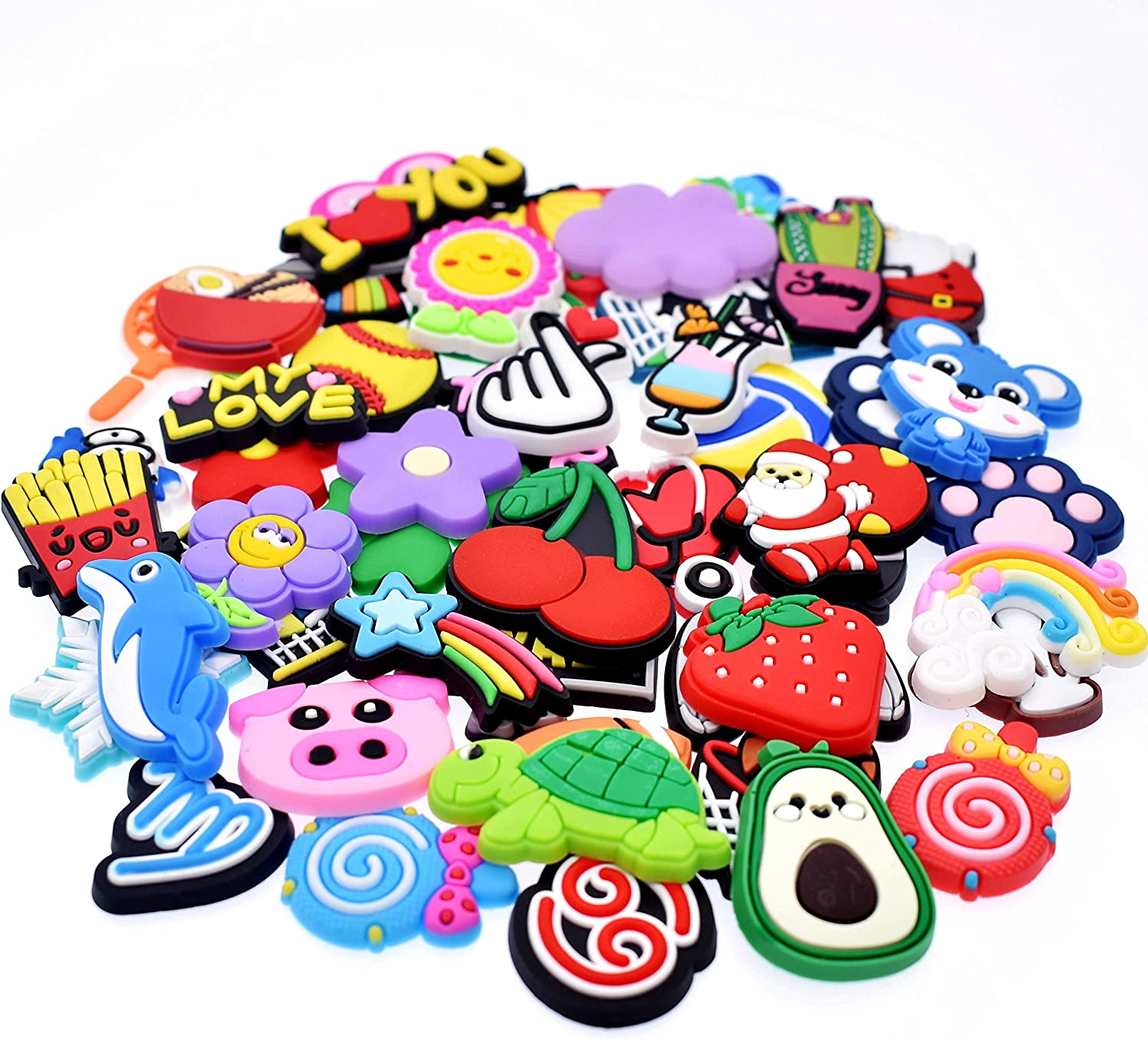 30,50,70,100,150,200pcs Random Different Shoe Charms fit Sandals Whirstbands Kids Girls Gifts