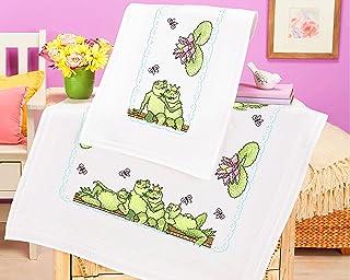 Kamaca Stickpackung Tischdecke Frosch - Party Kreuzstich vorgezeichnet aus Baumwolle Stickset mit Stickvorlage Tischläufer 40x100 cm