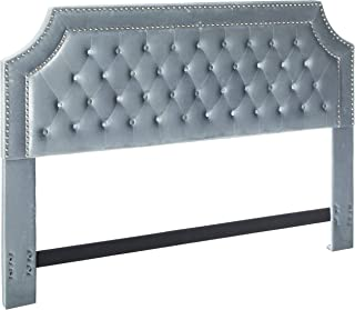 Iconic Home Chava Headboard Velvet Upholstered Button Tufted Double Row Silver Nailhead Trim Modern Transitional, King, Gray