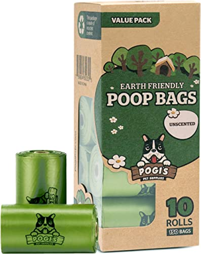 Pogi's Poop Bags - 10 Unscented Rolls (150 Bags) - Large, Earth-Friendly, Leak-Proof Pet Waste Bags