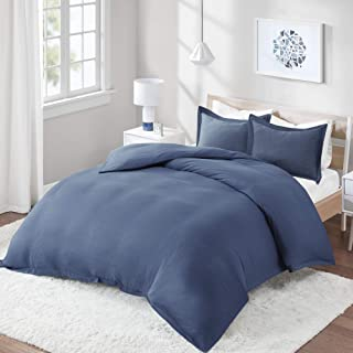 Comfort Spaces Cotton Blend Jersey 3 Piece Duvet Cover Pillow Shams, Breathable Ultlra Soft Bedding Set, Queen, Navy
