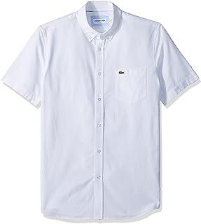 Lacoste Men's Short Sleeve Oxford Button Down Collar Regular Fit Woven Shirt