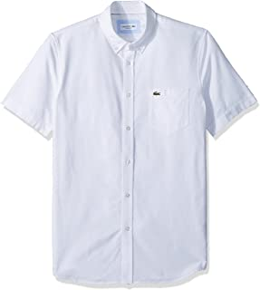 Lacoste Mens Short Sleeve Oxford Button Down Collar Regular Fit Woven Button Down Shirt