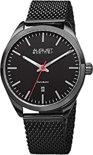 August Steiner Mens Automatic Watch, Analog Display and Stainless Steel Strap AS8265BK
