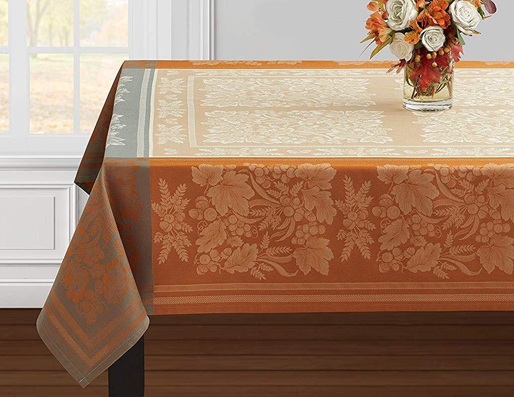 Benson Mills Gathering Engineered Jacquard Tablecloth 60 X 144 Rectangular Taupe For Harvest Fall And Thanksgiving