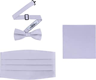 Men's 3 Piece Formal Accessory Set with Bow Tie, Cummerbund & Pocket Hanky (Silver)