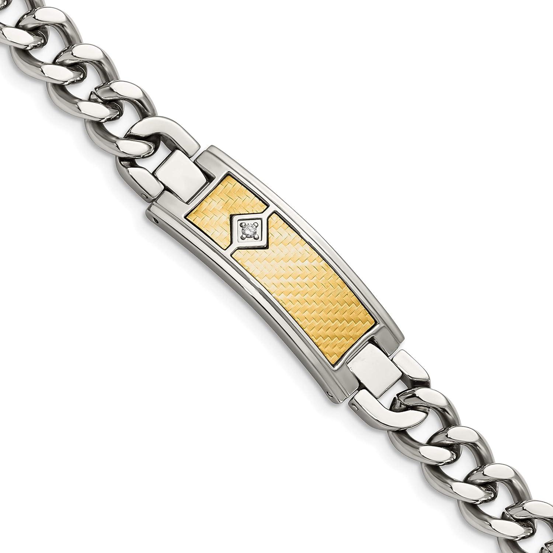 Stainless Steel w/18k Polished Weave Textured Diamond ID Bracele