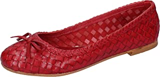 SHOCKS Ballet Flats Womens Leather Red