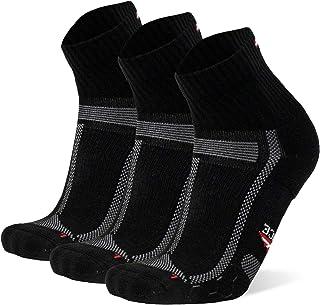 Calcetines de Running para Largas Distancias, para Hombre y Mujer, Acolchados, Transpirables, Calcetines con Compresión de Arco, Anti-Ampollas, Maratón, Negro, Azul, Blanco, Azul, Pack de 3