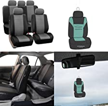 FH Group PU002115 Classic PU Leather Car Seat Covers Gray/Black, Airbag Compatible and Split Bench - Fit Most Car, Truck, SUV, or Van