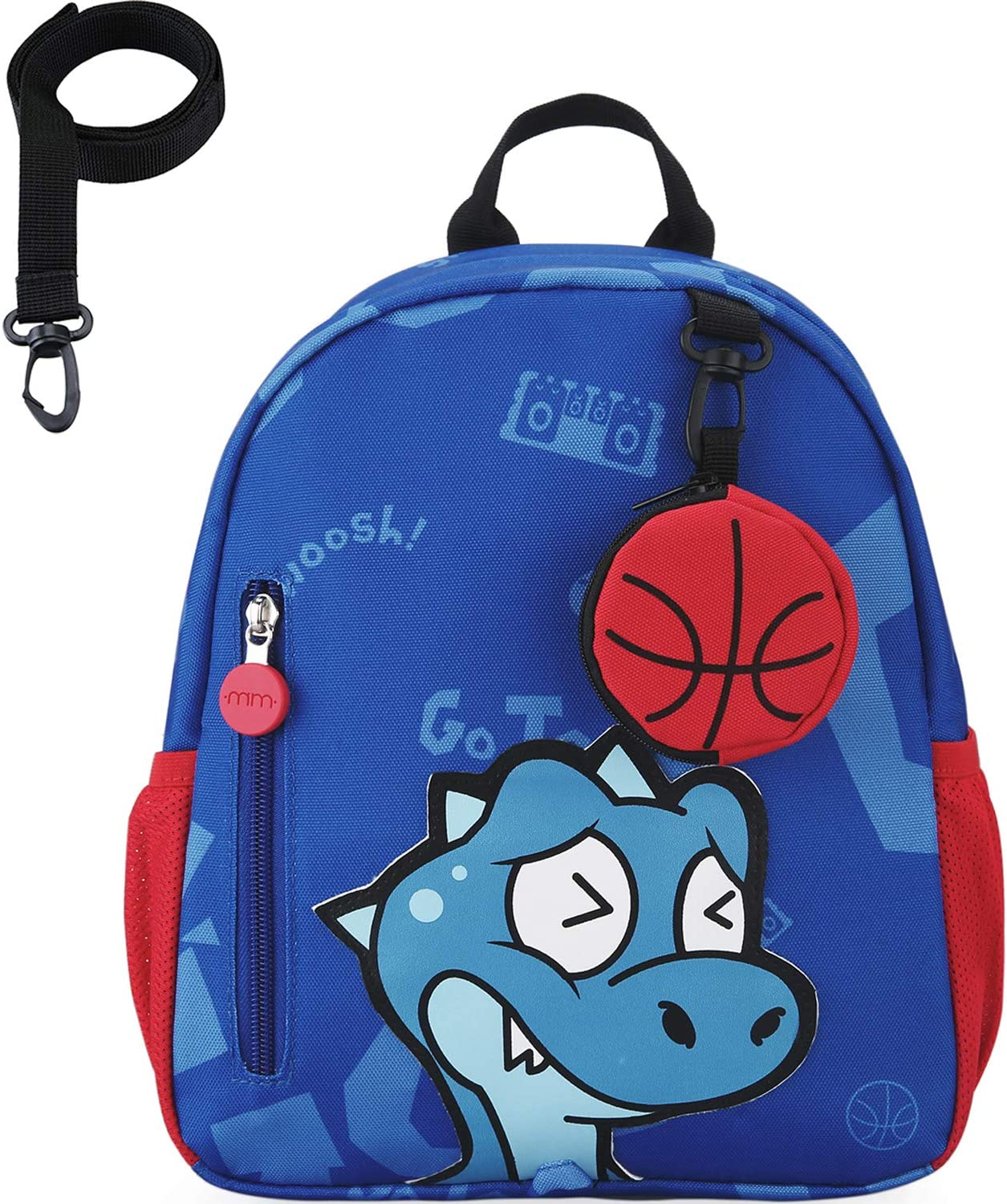 mommore Toddler Backpack Dinosaur with Safety Leash Cute Basketball Pouch Preschool Kids Lunch Bag, Blue