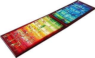 Arco iris y roja abstracto A623 - díptico colorido empaste arte, pinturas abstractas originales del artista Ksavera