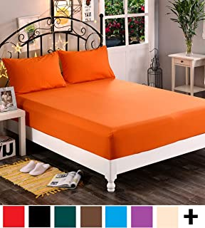 Elegant Comfort Premium Hotel 1-Piece, Luxury & Softest 1500 Thread Count Egyptian Quality Bedding Fitted Sheet Deep Pocket up to 16inch, Wrinkle and Fade Resistant, Twin/Twin XL, Orange