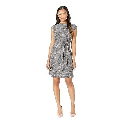 Ellen Tracy Cap Sleeve Fit and Flare Dress (Black/White) Women
