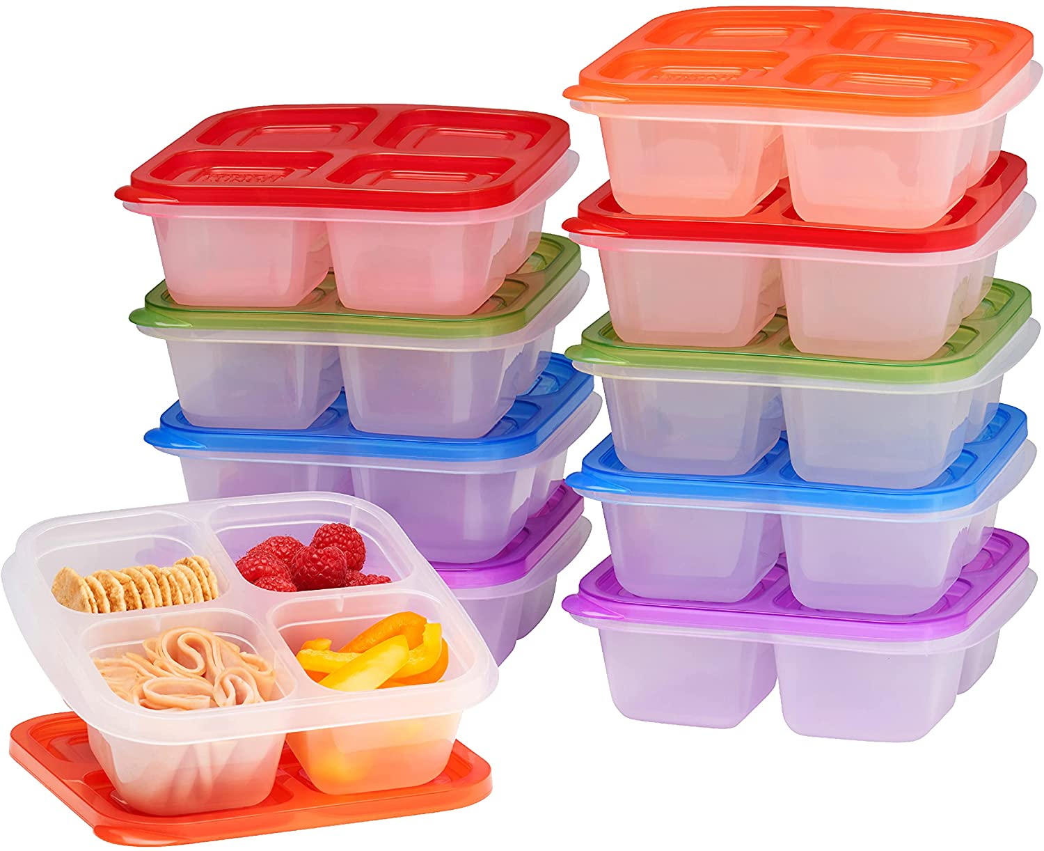 EasyLunchboxes - Bento Snack Boxes - Reusable 4-Compartment Food Containers for School, Work and Travel, Set of 10, (Classic)