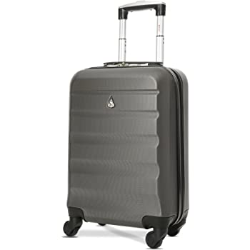 Aerolite Lightweight 55cm Hard Shell Cabin Luggage 4 Wheels Suitcase, Carry On Hand Travel Luggage Suitcase Approved for Ryanair, easyJet, British Airways, Virgin Atlantic, Flybe and More, Charcoal
