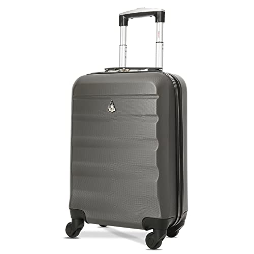b1177a6e9 Aerolite Super Lightweight ABS Hard Shell Travel Carry On Cabin Hand  Luggage Suitcase with 4 Wheels