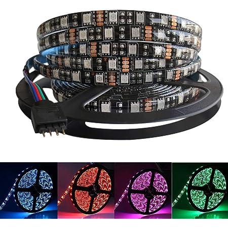 5M Black PCB 5050 RGB LED Strip Waterproof IP65 300 SMD Black PCB Board DC 12V Flexible Light