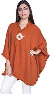 100% Alpaca Wool Women´s Solid Knit Wrap Poncho Cape - Warm, Soft & Thick