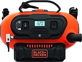 ضاغط هواء متعدد الاستخدامات بدون أسلاك/حبال، 18 فولت/12 فولت 160 باسكال/11 بار من بلاك + ديكر مع فوهات للسيارات والدورات...