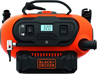 Black+Decker 18V/12V 160PSI/11 Bar Cordless/Corded Multi-Purpose Air Compressor Inflator with Nozzles for Car, Cycles, Inf...