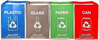 Bolsas de basura separadas para reciclaje para cocina, oficina en casa, para reciclaje de basura, organizador, cestos impermeables, contenedor, tamaño grande, juego de 4 bolsas