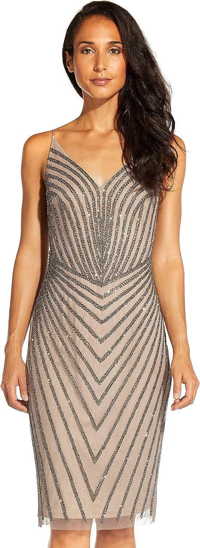 Adrianna Papell Women's Short Beaded Cocktail Dress