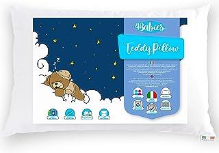 4BABIES - Almohada para Niños, Almohada para Bebés de 1- 2- 3 año de Fibra Transpirable, Hipoalergénico, con Funda 100% Algodón Italiano, Antiácaros, Talla 60 x 40 cmcm