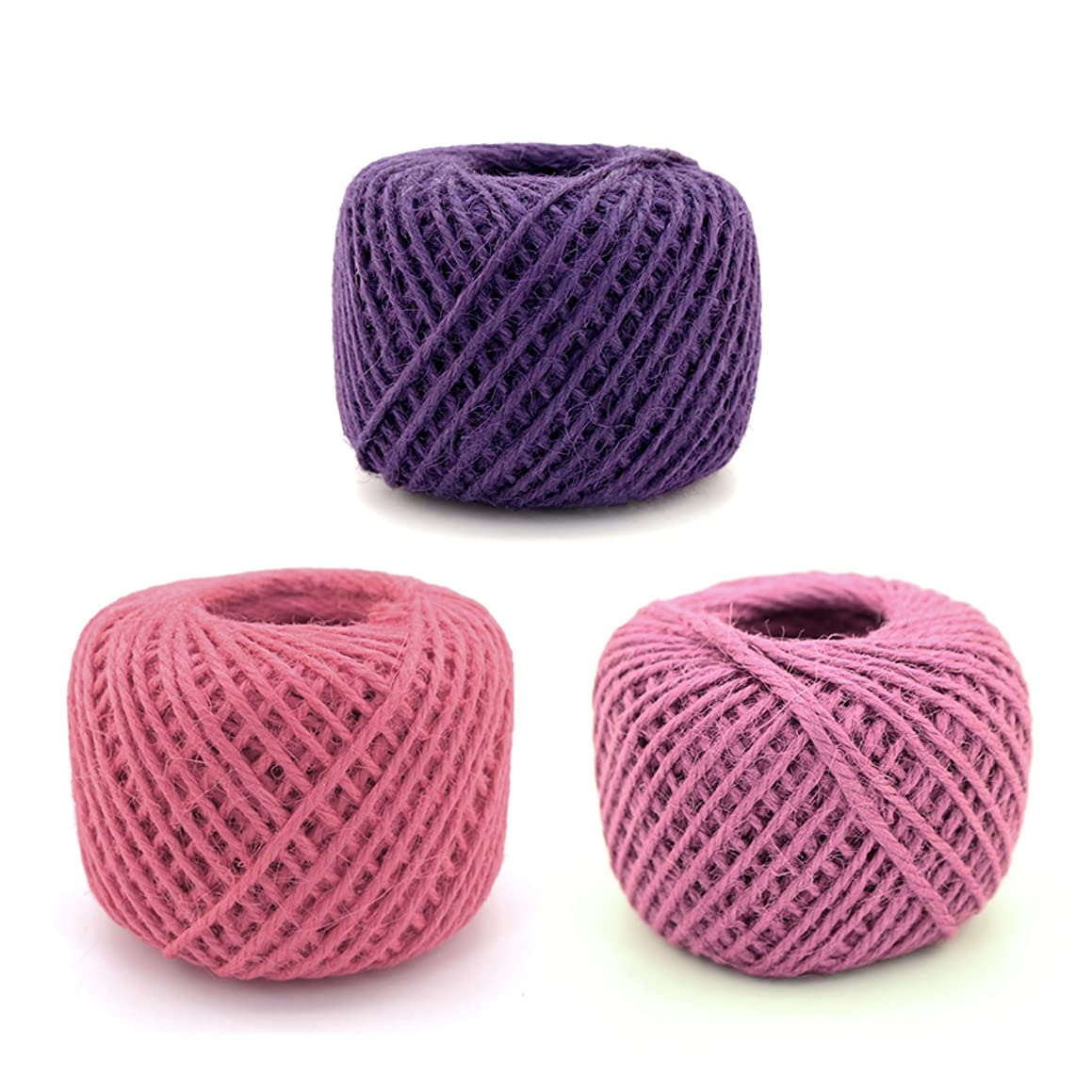 BambooMN 675 Ft, 2mm Crafty Jute Twine String Hemp Jute for Artworks, DIY Crafts, Gift Wrapping, Picture Display and Embellishments, 3 Balls Shades of Purple