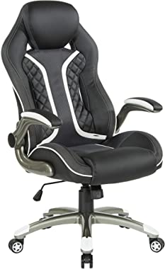 OSP Designs Xplorer 51 Ergonomic Adjustable High Back Gaming Chair, Black Faux Leather with White Trim