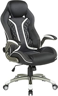 OSP Home Furnishings Xplorer 51 Ergonomic Adjustable High Back Gaming Chair, Black Faux Leather with White Trim