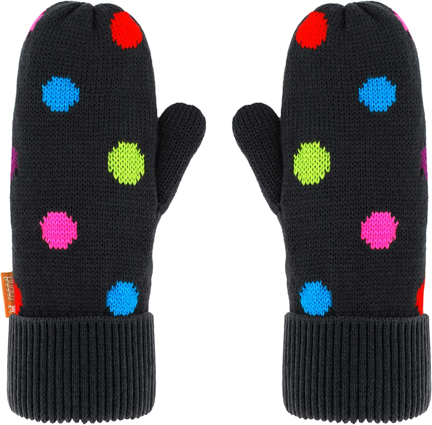 Pudus Kids Winter Knit Mittens, Fuzzy Sherpa-Lined Warm Gloves for Boys & Girls