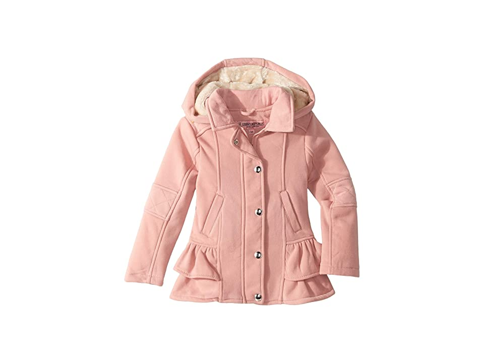 Urban Republic Kids Elena Fleece Hooded Jacket w/ Ruffles (Little Kids/Big Kids) (Pink) Girl