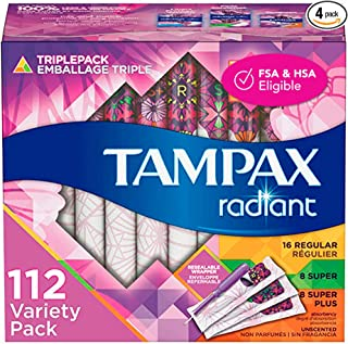 Sponsored Ad - Tampax Radiant Plastic Tampons, Regular/Super/Super Plus Absorbency Triplepack, 112 Count, Unscented (28 Co...