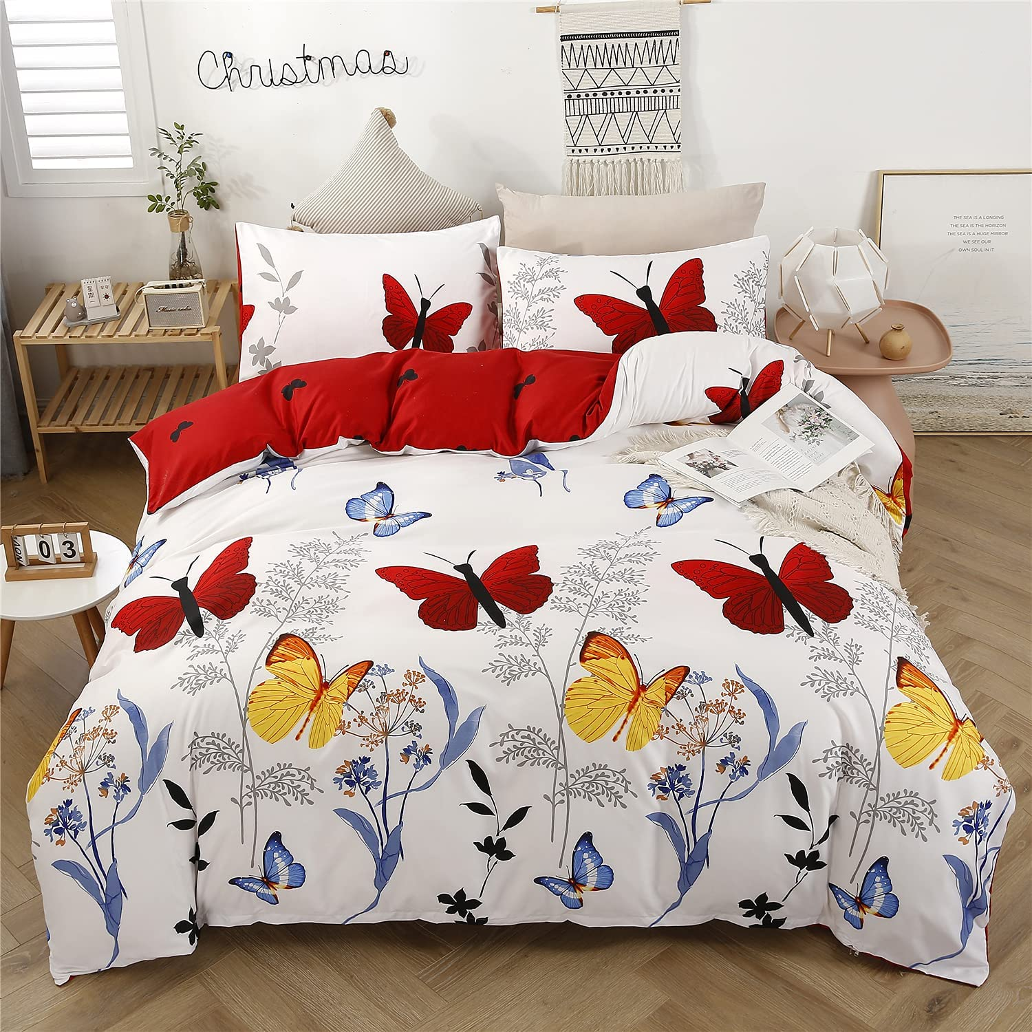 Super sale WINLIFE Colorful Butterfly Printed on Branches Duv New life White Bedding