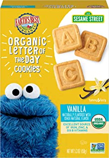 Earth's Best Organic Cookies, Toddler Snacks, Very Vanilla, Sesame Street Letter of the Day, 5.3 Ounce
