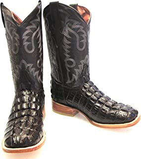 Men's Crocodile Alligator Tail Cut Leather Cowboy Western Square Toe Boots Brown