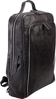 Corno d´Oro Mochila para mujer y hombre, de piel, grande, XL, para portátil de 17 pulgadas, con muchos compartimentos, moc...