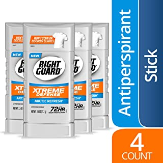 Right Guard Xtreme Defense Antiperspirant Deodorant Invisible Solid Stick, Arctic Refresh, 2.6 Ounce (Count of 4)