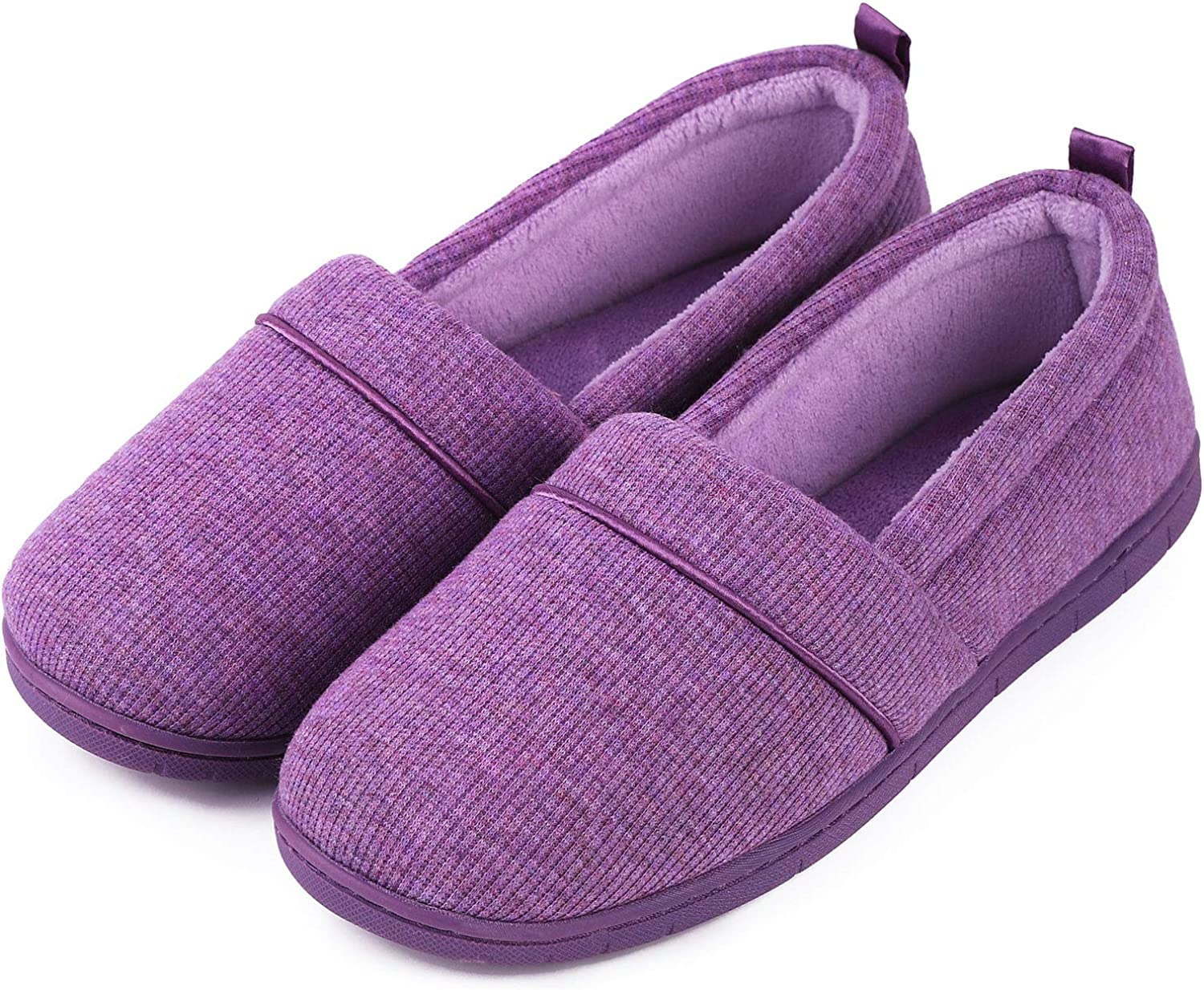 Women's Comfort Cotton Knit Memory Foam House Shoes Light Weight Terry Cloth Loafer Slippers