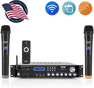 Bluetooth Multi-Channel Hybrid Pre-Amplifier System - 3000W Home Audio Rack Mount Stereo Power Amplifier Receiver w/ Radio, USB, UHF, Dual Wireless Karaoke mic, Speaker Sound System - Pyle PWMA4004BT
