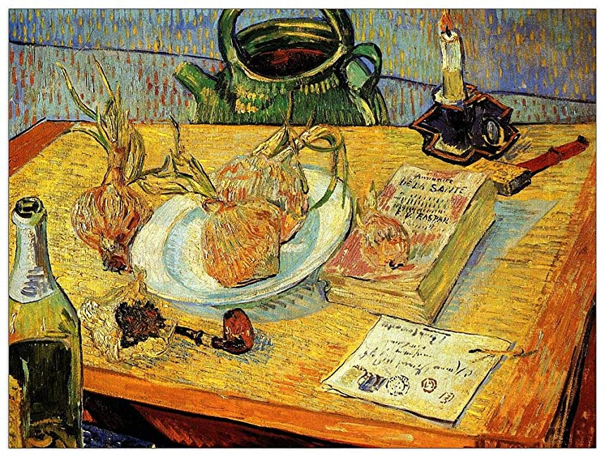 ArtPlaza TW90881 Van Gogh Vincent - Still Life Drawing Board Pipe Onions and Sealing-Wax Decorative Panel 51x39.5 Inch Multicolored