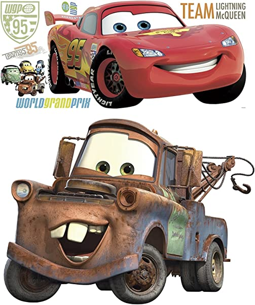 Disney Pixar Cars 2 Lightning McQueen Mater Peel And Stick Giant Wall Decal Bundle