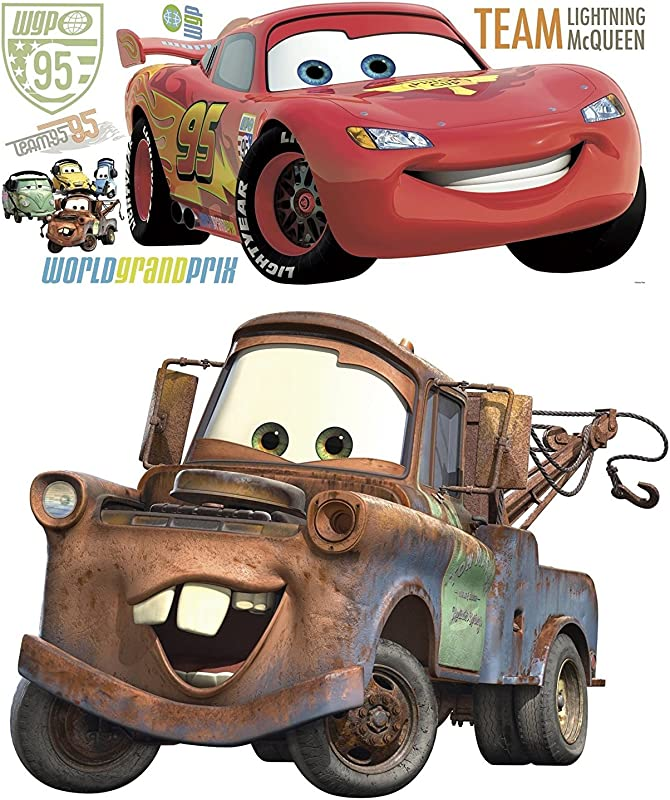 Disney Pixar Cars 2 Lightning McQueen Mater Peel And Stick Giant Wall Decal Bundle